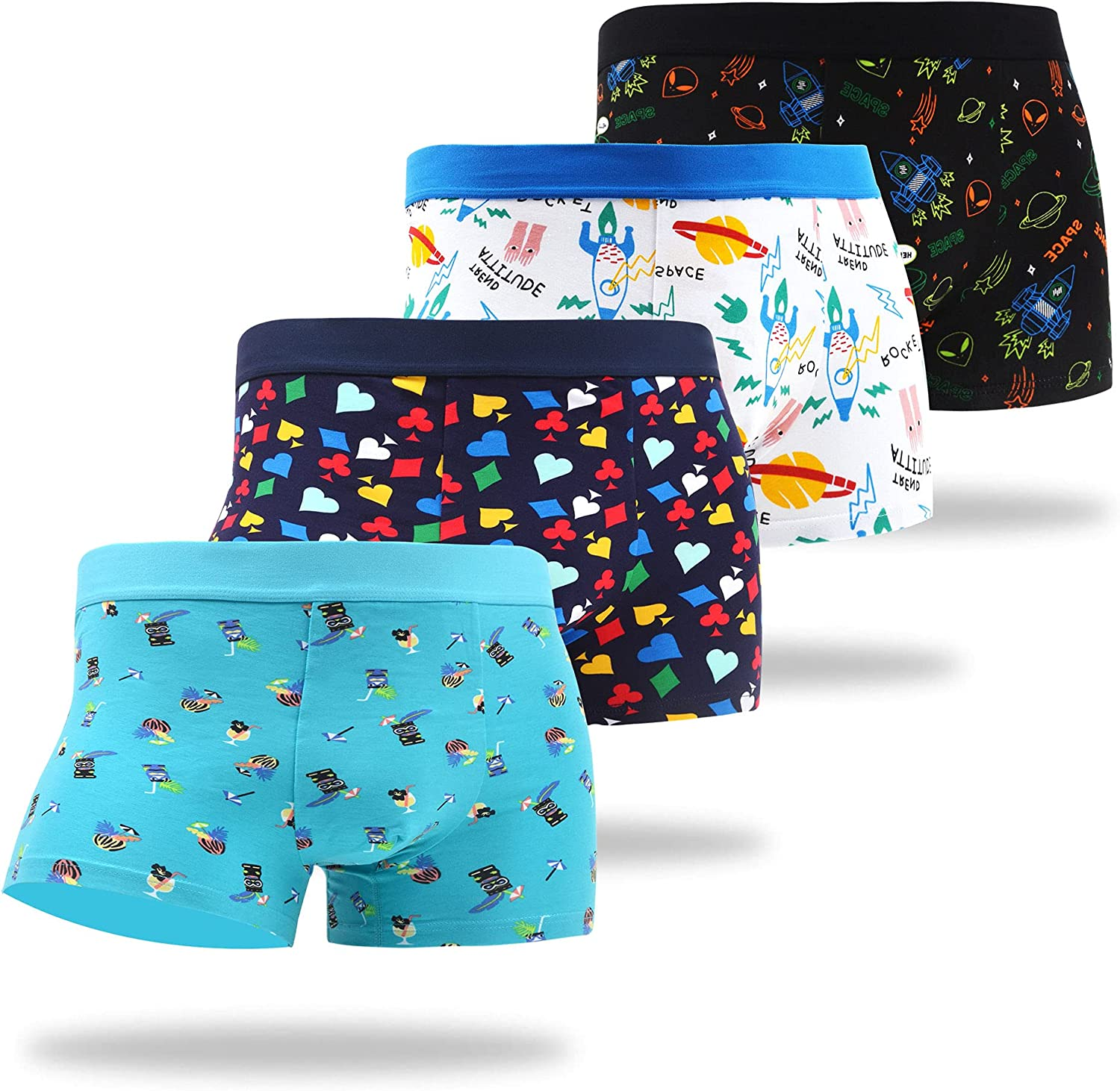 WAZATE Men's Trunks Colorful Multipack Novelty Multi Patterns Breathable Cotton Funny Gift Underwear