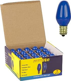Sunlite 7C7/B Incandescent 7-Watt, Candelabra Based, C7 Night Light Colored Bulb, Blue, 25 Pack
