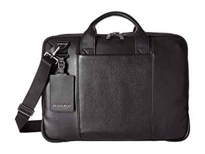 Briggs & Riley @Work Leather Medium Brief (Black) Briefcase Bags