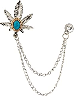 Knighthood Men's Exclusive Silver Maple Leaf With Stone Detailing Hanging Chain Lapel Pin/Brooch Silver