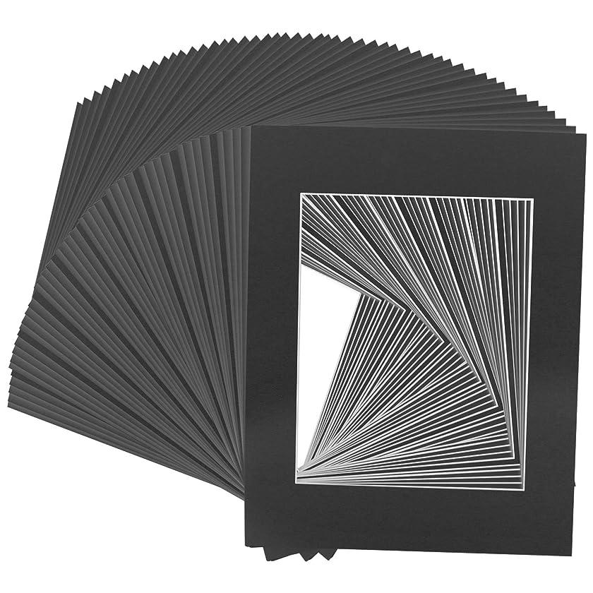 US Art Supply Art Mats Brand Premier Acid-Free Pre-Cut 5x7 Black Picture Mat Matte Face Frames. Includes a Pack of 50 White Core Bevel Cut Matte Frames for 4x6 Photos
