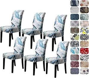 Howhic Chair Covers for Dining Room with Printed Patterns, Easy Slip-on Stretchy Dining Room Chair Covers Set of 6, Washable Dining Chair Covers, Great Decor for Home Party Banquet (6pcs)