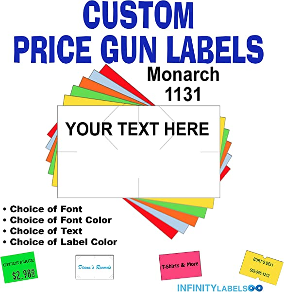 Custom Price Gun Labels Customizable Monarch 1131 Compatible Labels To Fit All Monarch 1131 Price Guns Full Case 8 Ink Rollers You Choose The Colors Font And Text