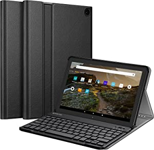 Fintie Keyboard Case for All-New Fire HD 10 and Fire HD 10 Plus Tablet (Only Compatible with 11th Generation 2021 Release), Slim Lightweight Cover with Detachable Bluetooth Keyboard, Black