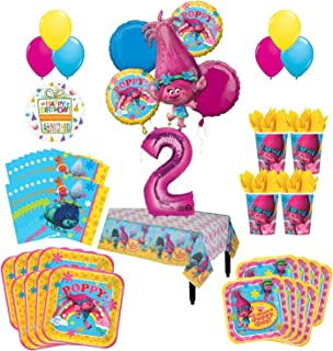 Mayflower Products Trolls Poppy 2nd Birthday Party Supplies 8 Guest Kit and Balloon Bouquet Decorations