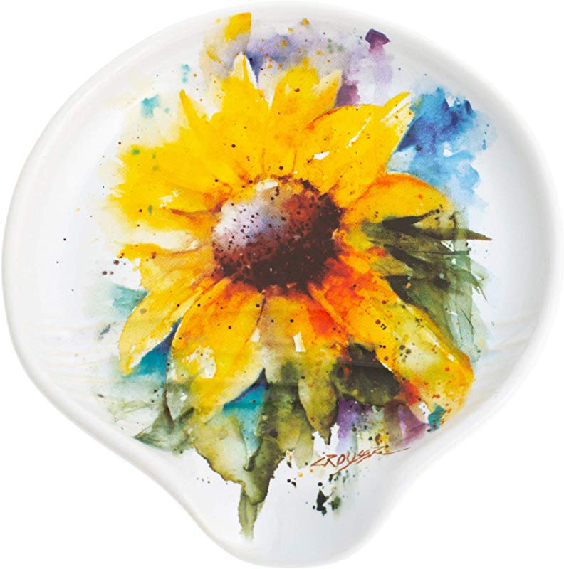 DEMDACO Sunflower Watercolor Yellow On White 5 X 5 Glossy Stoneware Spoon Rest