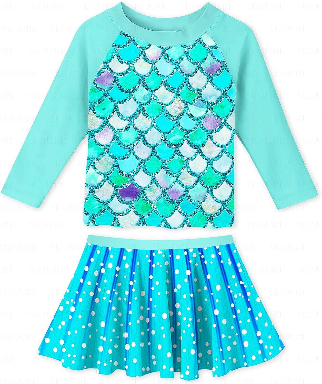YRCUONE Girls Max 62% OFF Swimsuit Two Piece Rushguard Max 89% OFF Swimwear Long Sleeve
