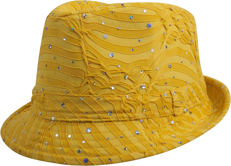 TOP HEADWEAR Womens Glitter Sparkle Fedora Hat