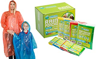 Rain Ponchos Family Pack | Emergency Raincoat Drawstring Hood Poncho for Children and..