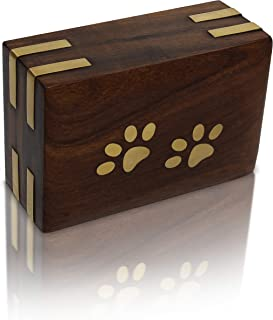 Royal Matter Rosewood Wooden Pet Urn for Dogs or Cats with Brass Paws and Brass Corners (Extra Small Box 10 cu. in. 5