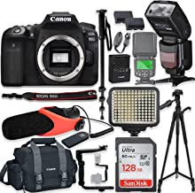 """$1279 Get Canon EOS 90D DSLR Camera Body Only Kit with Pro Photo & Video Accessories Including 128GB Memory, Speedlight TTL Flash, LED Light, Condenser Micorphone, 60"""" Tripod & More"""