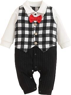 Xuefoo Baby Jungen Jumpsuit Gentleman Romper Smoking für Fliege Strampler Langarm Kleinkinder One Pieces Se