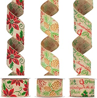 KI Store Christmas Ribbon Wired Burlap Poinsettia Ribbons for Christmas Tree Decorations and Gift Wrapping 2.5 Inch Wide 30 Yards (3 Spool X 10 Yds)