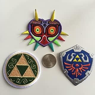 Triple Legend of Zelda Zelda Embroidered Patch Pack - Complete Triforce, Majora's Mask, Master Hylian Shield
