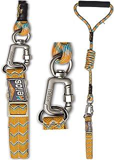 DOGHELIOS 'Dura-Tough' Easy Tension 3M Reflective Adjustable Multi-swivel Pet Dog Leash and Collar, Large, Orange