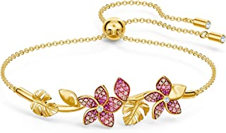 Swarovski Tropical Women's Bangle Bracelet With Floral Design and Gradient Pink Swarovski Crystals on a Gold-Tone Plated S...
