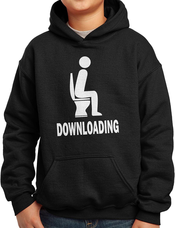 Nutees Downloading Man On Toilet Bowl Poop Funny Unisex Kids Hoodie Ages 3-15 Years