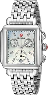 Women's Deco Diamond Dial Stainless Steel Watch