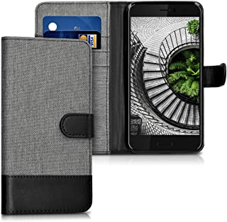 kwmobile Wallet Case for HTC U11 - Fabric and PU Leather Flip Cover with Card Slots and Stand - Grey/Black
