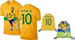 Athletics Rhinox Neymar Jersey Style T-Shirt Kids Neymar Jr Jersey Brazil T-Shirt Gift Set Youth Sizes ✓ Premium Quality ✓ Lightweight Breathable Fabric ✓ Soccer Backpack Gift Packaging
