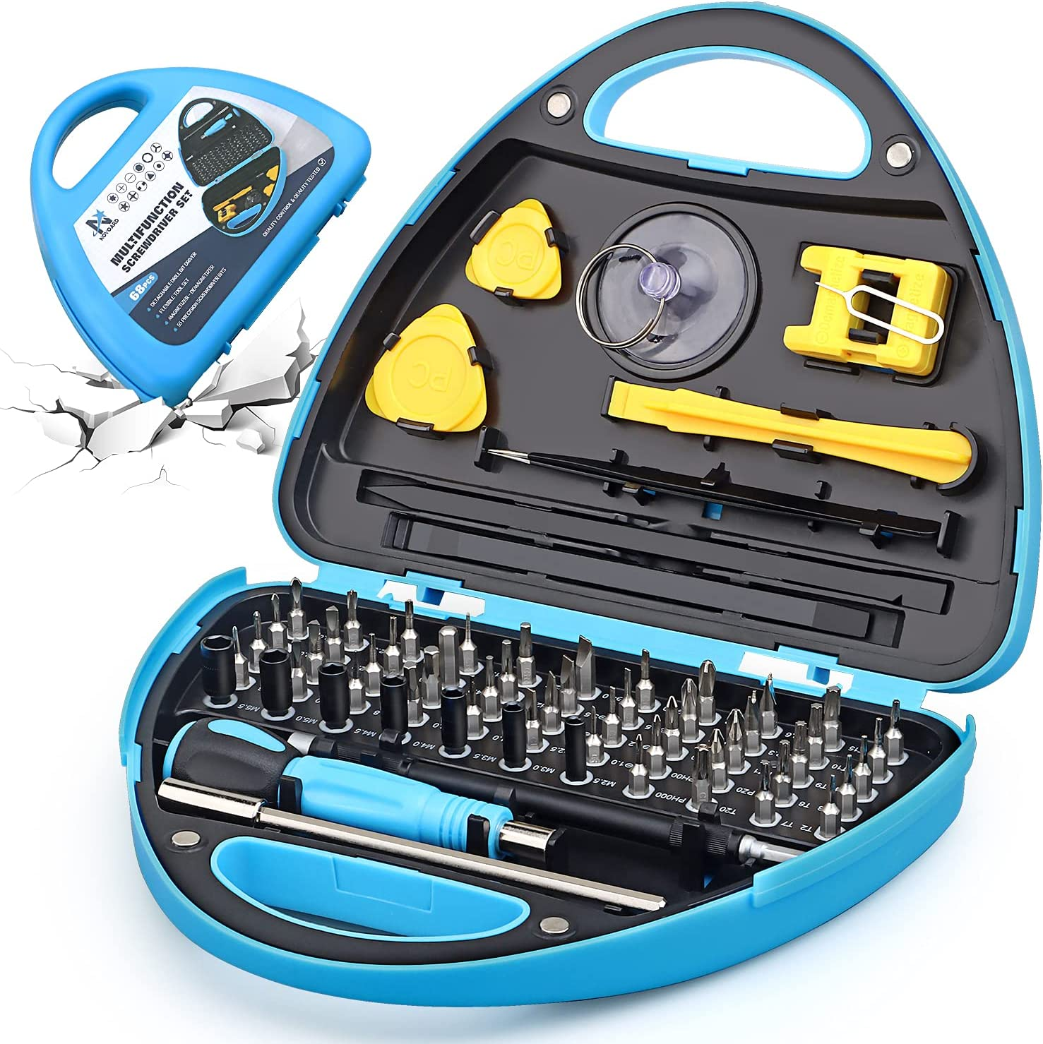 Computer Repair Tool Kit, Novoard Precision Laptop Screwdriver Set with 55 Magnetic Bits, Professional Repair Kit Compatible for iPhone, MacBook, PC, Electronic, Laptop, PS4, Xbox, etc(N-2134)