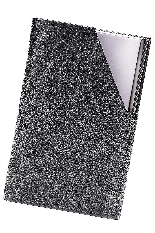 FIZO 名刺入れ 特性クロス付き 片手で1秒開閉 折れない 仕切り 名刺ケース になる専用箱付き プレゼント用に 手触りのいいマイクロダイヤモンドテクスチャー加工 PUレザー ステンレス 製 メンズ レディース 兼用