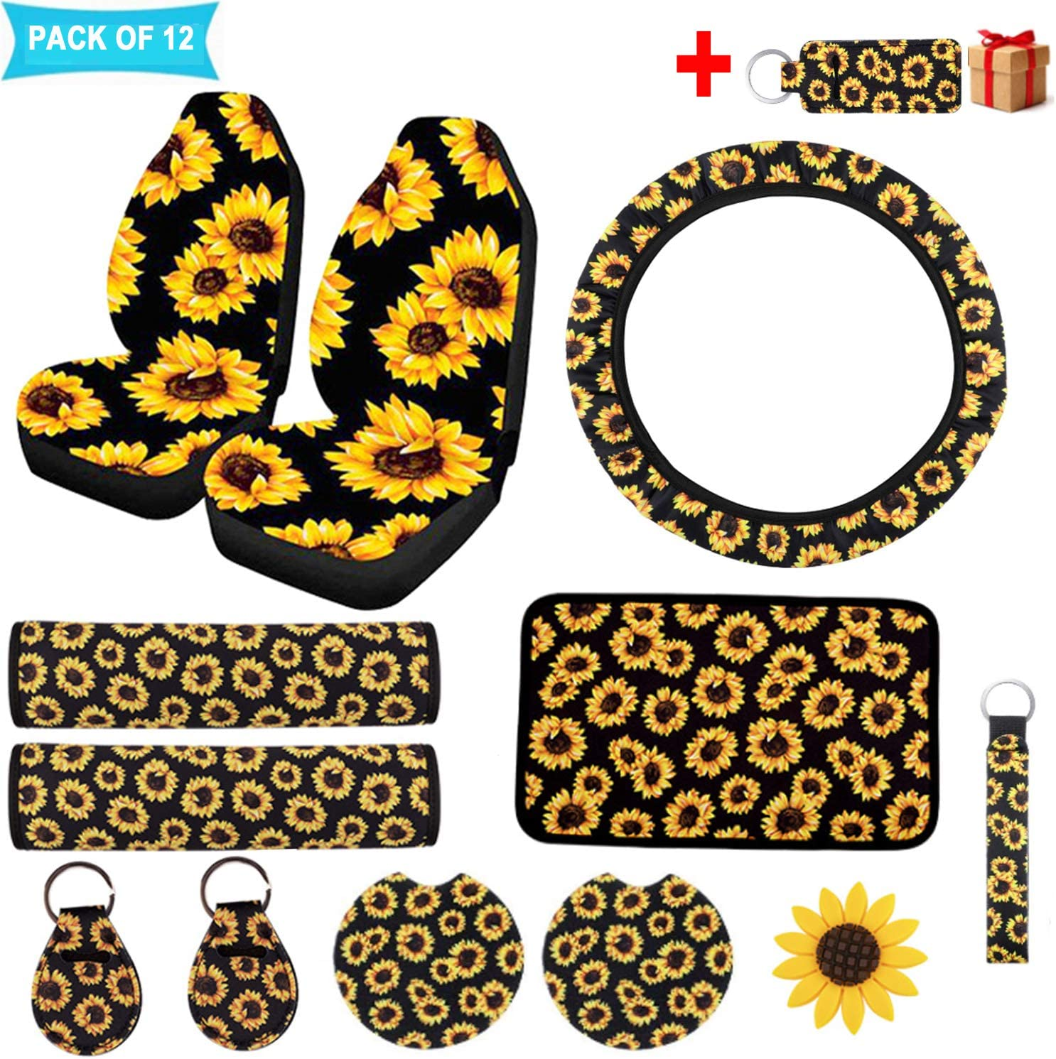 12 PCS Sunflower Directly managed store Car Accessories Seat 2PCS Front Luxury goods Sunflowers