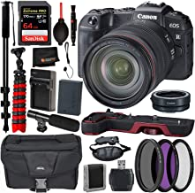 Canon EOS RP Mirrorless Digital Camera with 24-105mm Lens Accessory Bundle – Canon EG-E1 Extension Grip (Red) + Canon Mount Adapter EF-EOS R + Extreme Pro 64GB Memory Cards + More