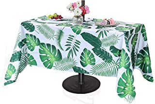Poise3EHome 60X120 Outdoor/Indoor Waterproof Tropical Rectangle Tablecloth with Umbrella Hole for Camping, Picnic, Afternoon Tea, BBQ, Palm Leaf