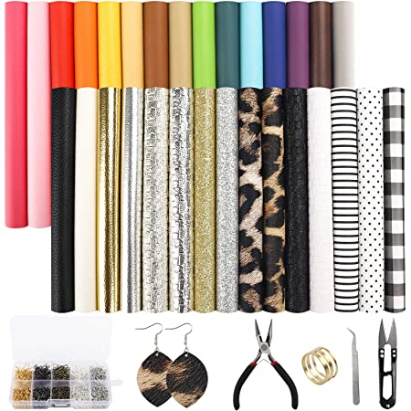Faux Leather Fabric 9 Pieces A4 Size 21x30cm Leather craft Fabric Sheets for Handwork,Handicraft DIY Sewing,earring making kit