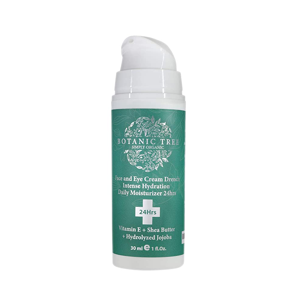 Face and Eyes Moisturizer Cream Drench Intense Daily Hydration 24hrs- Anti Aging Face Cream W/Vitamin E, Shea Butter and Hydrolyzed Jojoba.