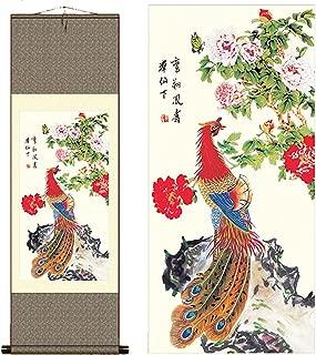sunmir (TM Silk Scroll Painting Phoenix Peacock Painting