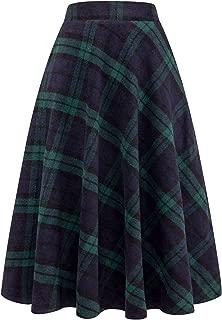 Womens High Elastic Waist Maxi Skirt A-line Plaid Winter Warm Flare Long Skirt