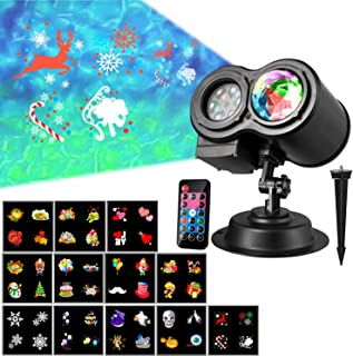 Samyoung LED Projector, Water Wave Landscape lamp Remote Control Colorful Waterproof Night Lights Perfect for Halloween Christmas Parties Bedroom Lawn Patio Yard, Black