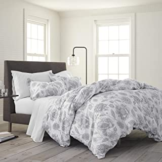 EcoPure 100% Organic Cotton Comfort Wash Meadow Walk Duvet Cover Set, King, Gray