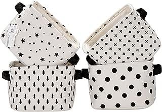 Sea Team Foldable Mini Square New Black and White Theme 100% Natural Linen & Cotton Fabric Storage Bins Storage Baskets Organizers for Shelves & Desks - Set of 4 (Black)