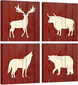 Artsbay 4 Pieces Animal Canvas Wall Art Deer Yak Wolf Bear on Rustic Wooden Backdrop Wild Animal Pictures Painting Modern Animal Home Wall Decor for Living Room Bedroom Kitchen 12x14 Inches