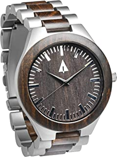 Men's Ebony Wooden Silver Stainless Steel Watch Quartz Analog with Qu.