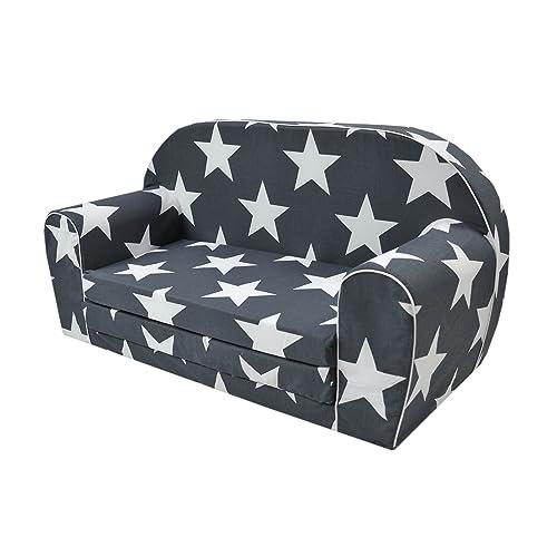 Canapé enfants MoMika | Sofa-Light Enfants | Enfant dans le fond pliable Canapé 2 en 1 et lit | 0-4 ans (Stars)