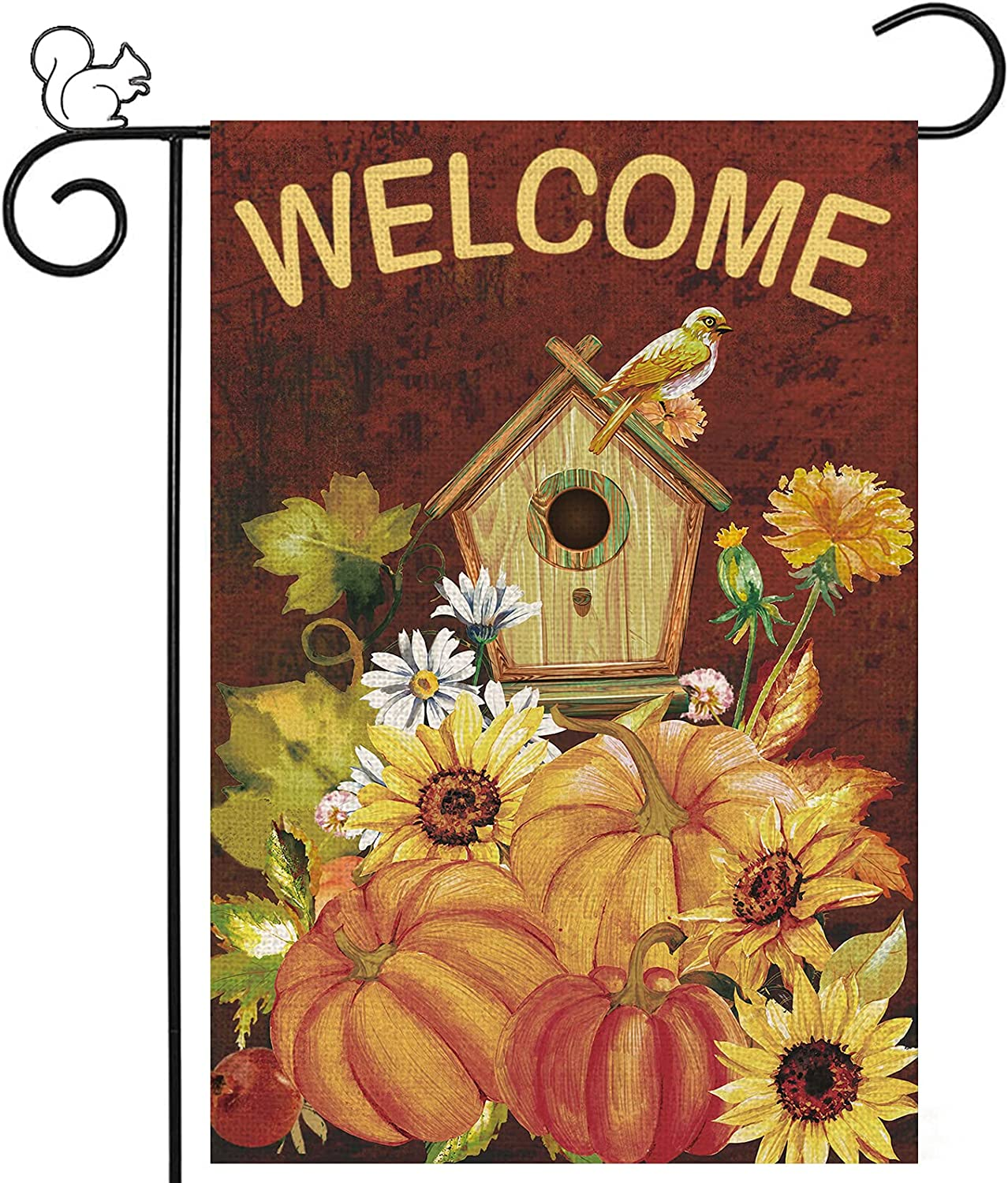 Welcome Fall Garden Flags Birdhouse Sign Super popular specialty store Porch Flowers Pumpkins Import