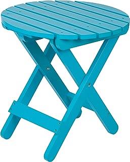 Shine Company 4108TQ Adirondack Round Folding Side Table, Turquoise