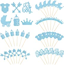 48 Pieces Cupcake Toppers Boy Style Baby Shower Cake Cupcake Toppers Picks Decoration for Birthday Party Supplies