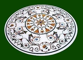 Mesa de comedor blanca con incrustaciones de piedras preciosas de mármol de 54 pulgadas