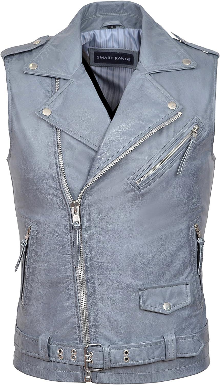 Men's Brando Blue Stone Motorcycle Biker Steam Punk Real Leather Waistcoat 1025