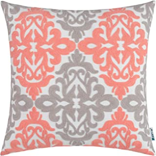HWY 50 Coral Pink Grey Decorative Embroidered Throw Pillow Covers Cushion Cases for Couch Sofa Bed 18 x 18 inch Accent Rustic Geometric 1 Piece