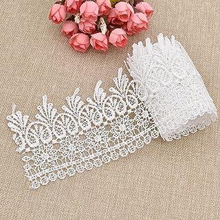 Cinta de encaje 2Yard de YNuth de color blanco, gris y café, para costura, fiestas, decoración y bodas, poliéster, Weiß, ...