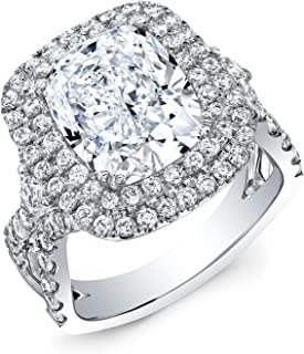 Natural Cushion Cut Double Halo Split Shank Pave with Diamond Accents on The Side Diamond Engagement Ring - GIA Certified
