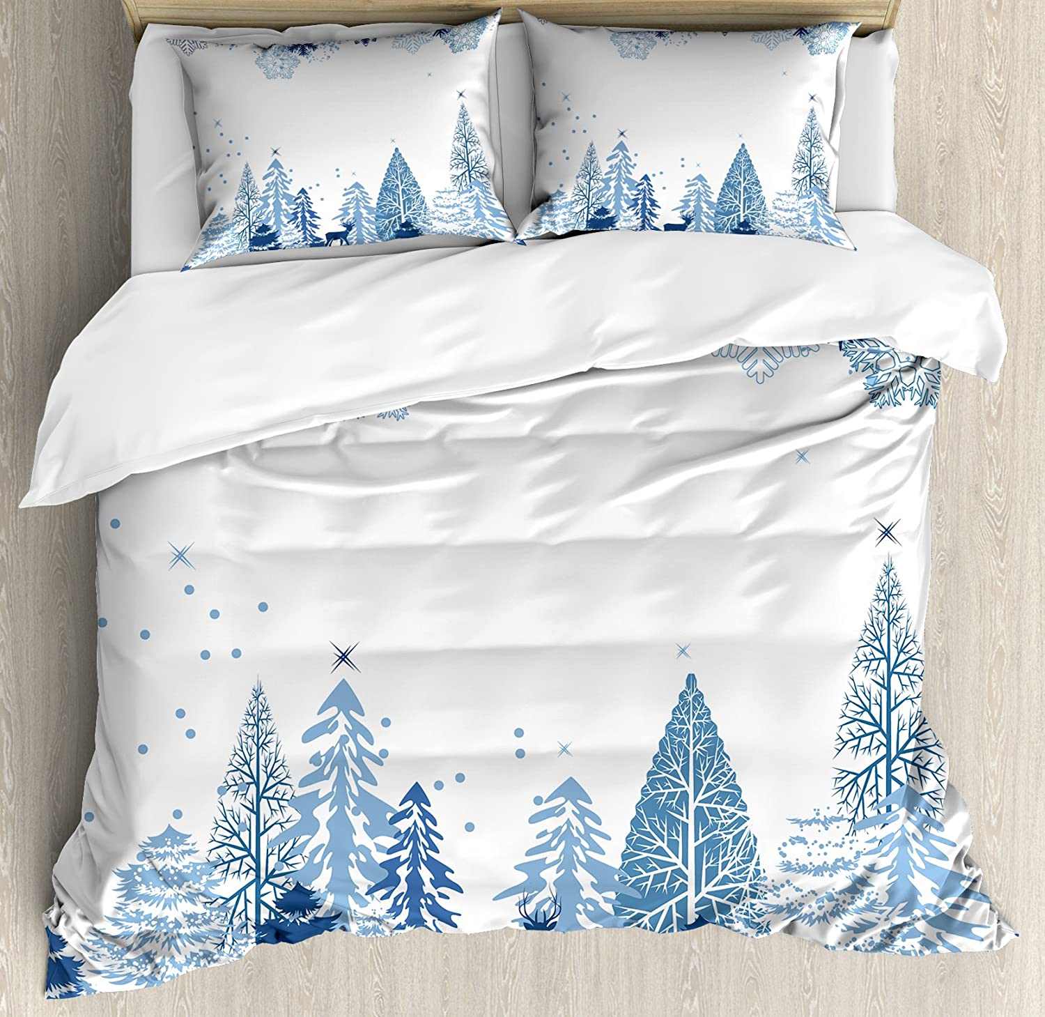 Ambesonne Winter Duvet Cash special price Cover Set Cold Trees Deer Scene Max 42% OFF a Frozen