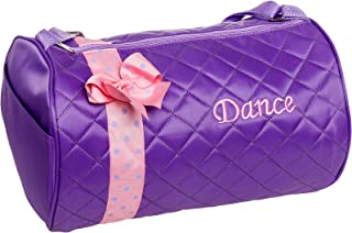 Girls Dance Bag - Quilted Duffle Bag w/Bow