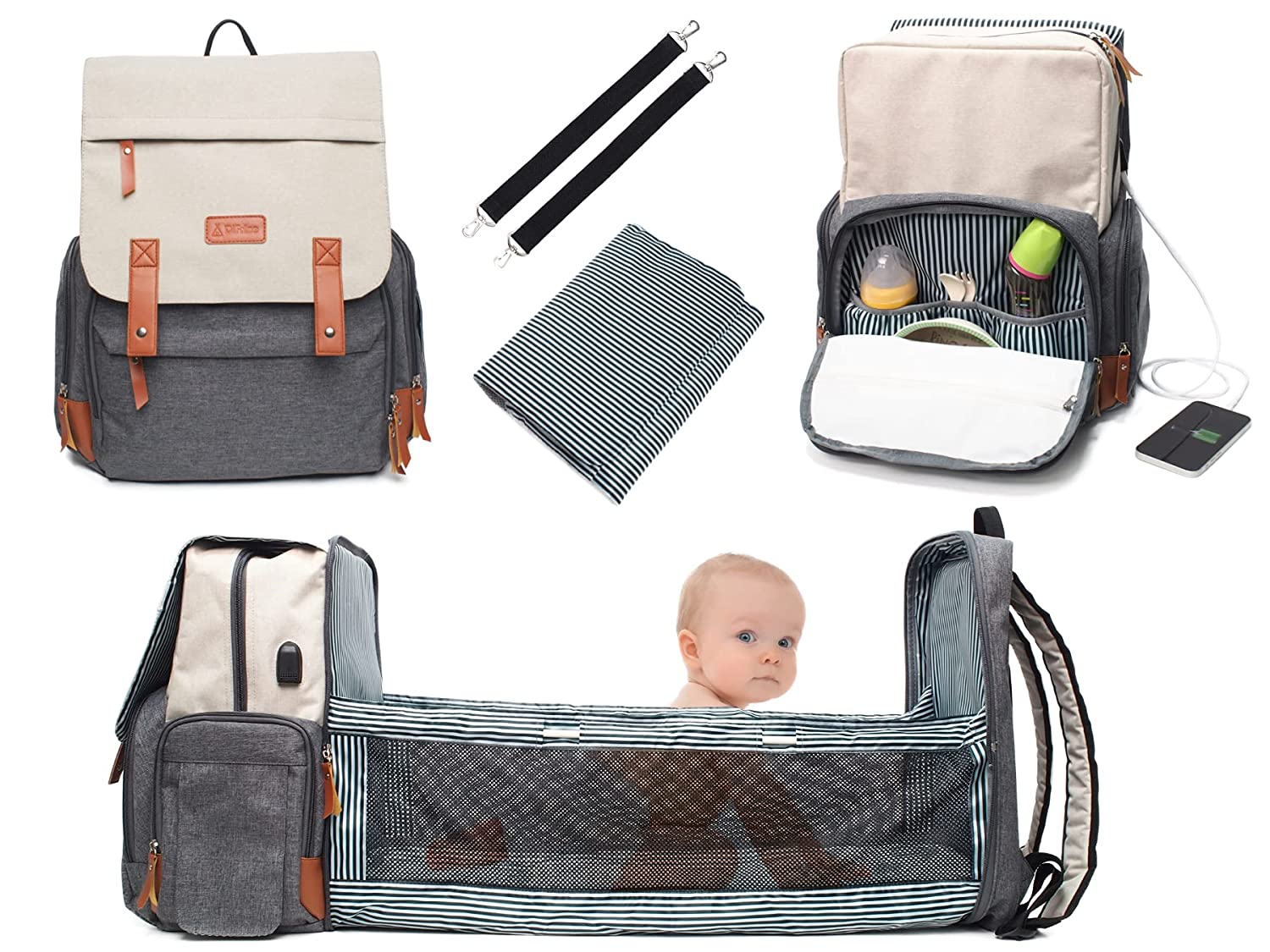 Diaper Bag Backpack with Changing Station, Large Baby Bag with Travel Bassinet, Insulated Space, USB Charging Port, Multiple Pockets, Stroller Straps, Stylish Neutral Newborn Essential, White